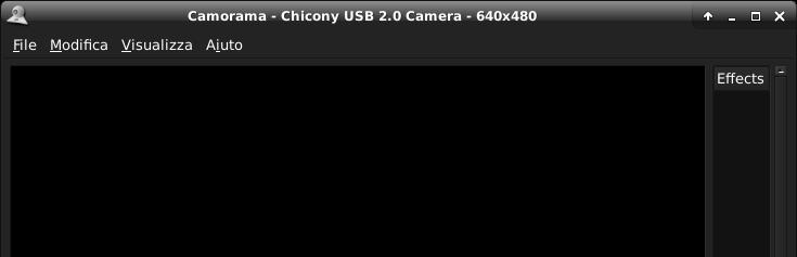 Camorama avviato con la sorgente di default video0)