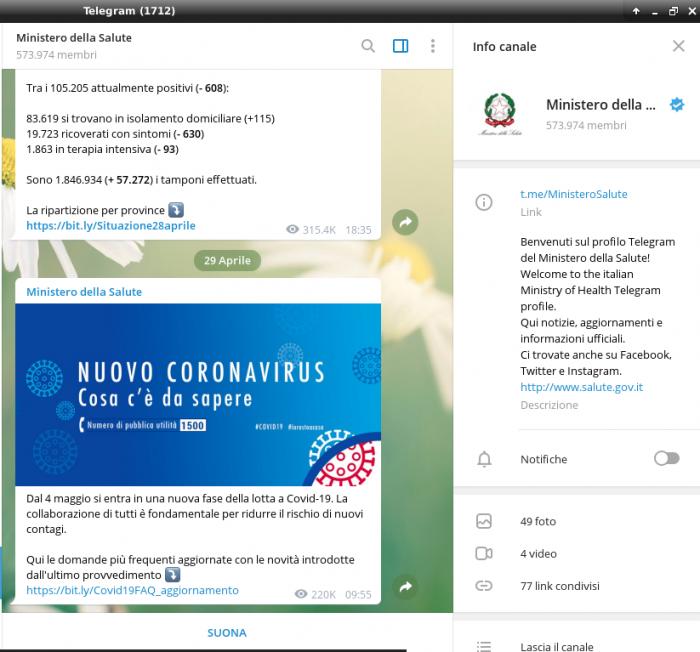 Il Canale Telegram UFFICIALE del Ministero della Salute